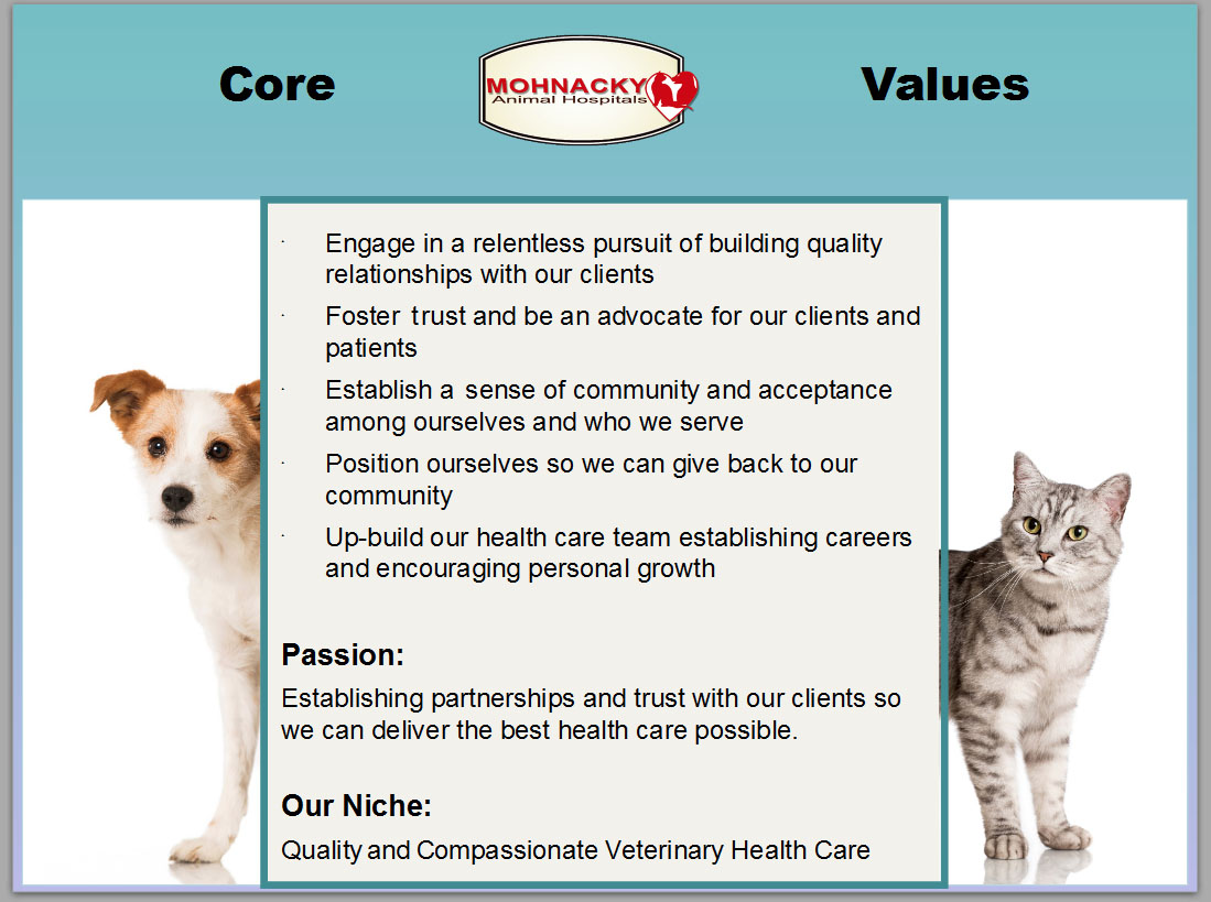 Our Core Values Mohnacky Animal Hospitals Of Escondido